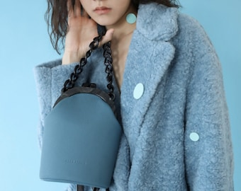 BLUE | 3 Colors Round Crossbody Bag | 2 Ways Women's Handbag | Genuine Leather |Kawaii Macaroon Colors| Customized Lettering | Gifts For Her