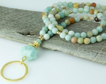 Amazonite Gemstone Eyeglass Lanyard, Eyeglass Chain, Gold Glasses Chain, Eyeglass Holder Necklace, Turquoise Eyewear, Gifts for Women