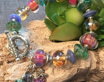 AURORA BOREALIS, artisan lampwork and sterling silver bracelet