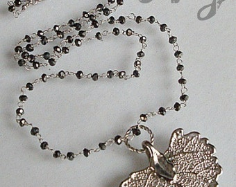 Black Spinel Necklace. Black Spinel handmade Rosary style jewelry. Genuine leaf pendant. Black Spinel rosary Necklace.