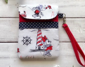 Mickey and Minnie Mouse nautical wristlet, cellphone pouch, travel bag, gadget pouch, eco friendly