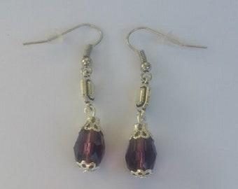 Model purple Rectangle crystal earrings