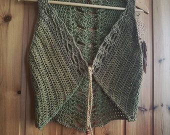 Plant-dyed wool forest fairie green vest S