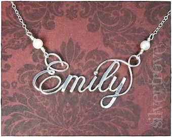 Sterling Silver Name Necklace, Personalized Jewelry, Custom Name, Wire Name, Calligraphy necklace, Name necklace, Name Jewelry, Silver Name