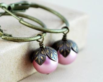 Pink Pearl Hoops, Swarovski Powder Rose, Wire Wrapped, Woodland Wedding, Antiqued Brass Jewelry