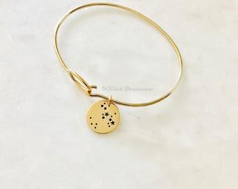 SAGITTARIUS Zodiac Constellation Disc Charm Bangle Bracelet - Natural Bronze - Insurance Included