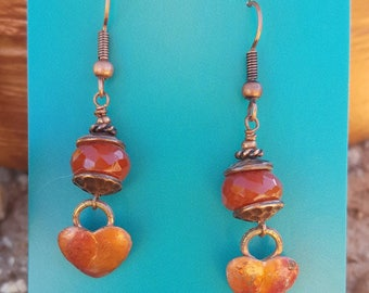 COPPER Heart Earrings - Carnelian- Cowgirl Earrings - Rustic Jewelry - Love - Boho - Western Jewelry by Heart of a Cowgirl