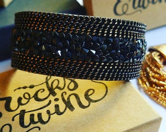 Black Cuff Bracelet / Magnetic Clasp / Boho Jewelry / Gemstone Chip / Chain