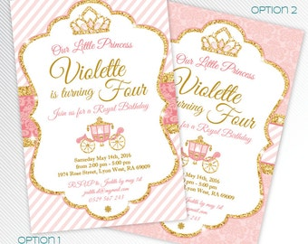 Pink and gold glitter Princess birthday party printable invitation