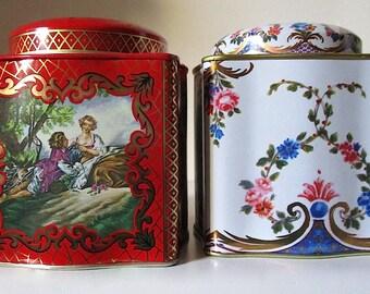 Two Vintage English Tea Tin Boxes