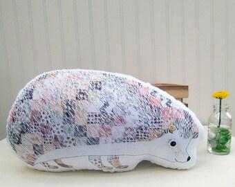 Hedgehog Pillow Plush Soft Toy Woodland Nursery Decor Ready to Ship