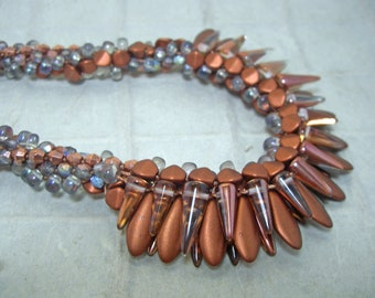 Copper and Etched Rainbow Czech Glass Beaded Kumihimo Necklace and Earrings Set Birthday for Her