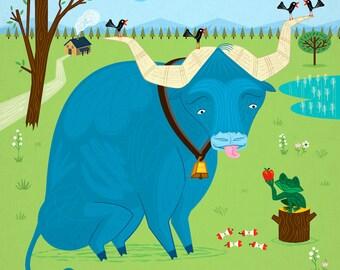 iOTA iLLUSTRATION - The Ox and The Frog - Limited Edition Animal Art Print