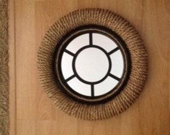 "Sisal Porthole Mirror, 19"", Sisal Rope & Enameled Wood"