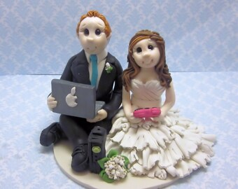 Custom  Gamers Wedding Cake Topper,Custom wedding cake topper, personalized cake topper, Bride and groom cake topper, Mr and Mrs cake topper