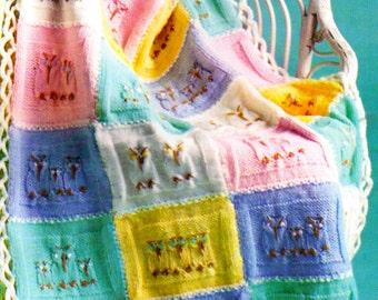 Baby Knitting Pattern, Baby Afghan Knitting Pattern, Motif Squares Afghan Pattern, Nursery Decor, INSTANT Download Pattern PDF (2311)