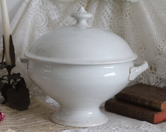 Antique French White Ironstone Soupiere/Tureen - Sarreguemines