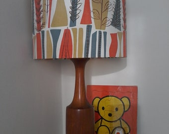 Handmade Drum Lampshade Using Original 1954 'Coppice' Fabric By Mary White,With Gold Mirror Lining