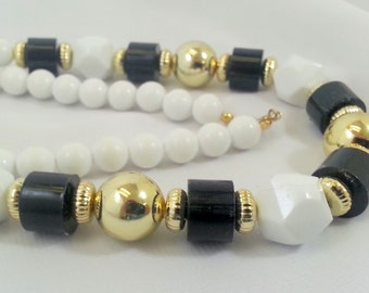 Handmade Black White Gold Beaded Up Cycled Vintage Necklace Long Tracy B Designs Custom Jewelry Design Repair Restringing Services