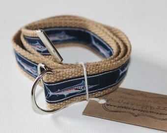 Blue Marlin Fish Adjustable Belt for Children/Toddler- Khaki Webbing