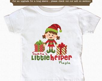Santa's Little Helper Shirt Personalized Christmas Elf  Shirt
