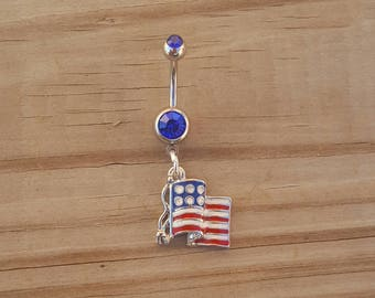 United States Flag Belly Button Ring, U.S.A Flag Navel Ring, Belly Button Jewelry, Navel Piercing, Body Jewelry, 14g Curved Barbell.