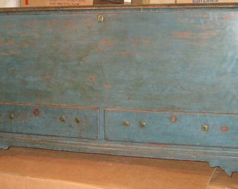 18th Century American Country Blue Walnut Blanket Chest with Two Drawers
