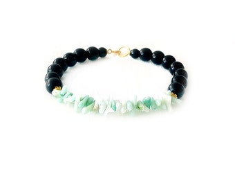 Gemstone Shell Gold Bracelet - Obsidian, Magnesite, Coral, Brass - Black, Gold, Mint, Seagreen - The Oceania: Speckled Stone Shell