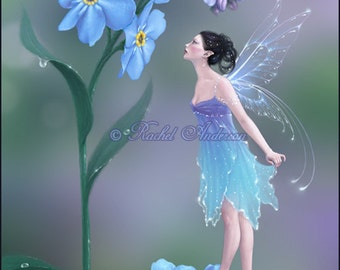 Forget Me Not Flower Fairy Art Print