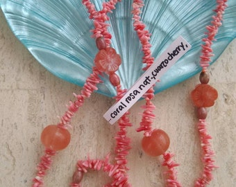 Pink Coral, Cherry quartz, pearl and rodhonite-long necklace
