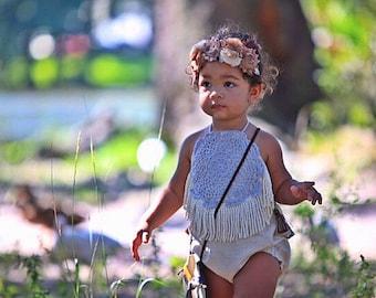 Girl Rompers Boho Romper Bohemian Clothing Baby Romper Girl Romper Boho Baby Vintage Style Romper Hippie Clothes Fringe Romper Doily Romper