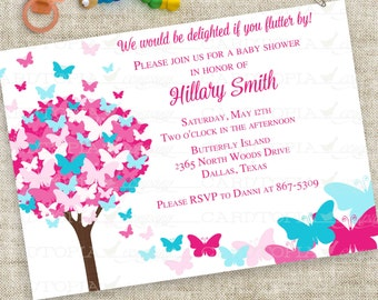 Pink and Blue Butterfly Baby Shower Invitations Personalized Custom Digital Printable File with Professional Printing Option