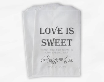 Love Is Sweet Wedding Candy Buffet Treat Bags - Personalized Favor Bags in Charcoal and Gray - Custom Paper Bags (0069)