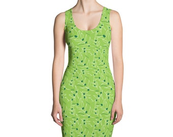 Green Olives Dress, Olive branches, Foodie Dress, Food Form Fitted Dress