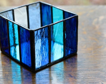 Stained Glass Box / Votive Candle Holder with Up-Cycled Antique Chandelier Crystal Window Hanging