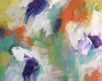 Abstract floral painting  Flower Art shabby chic home deco expressionism