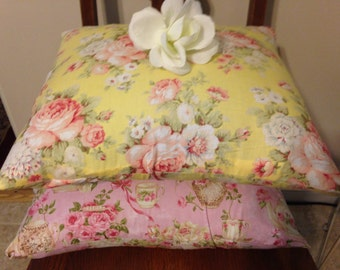 Pillow Covers/ Shabby Chic Pillow Cover/ Yellow, Pink Teacup Pillow Cover/ 2 Pillow Covers/ Handmade Pillow Cover