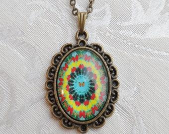 75% Off Glass Domed Butterfly Necklace, Green Teal and Yellow with Butterfly Pattern