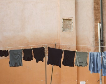 Burano Italy Photography Print, Clothesline photo, Travel Print, Italy Travel Art, Italy Photography, Red Orange, wall art, Photo Print