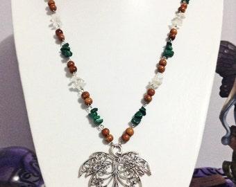 Crystal quartz and malachite leaf pendant necklace
