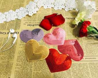 Colorful heart sequin patch/gold pink crimson purple patch/iron on patch /dress patch/denim patch/ DIY