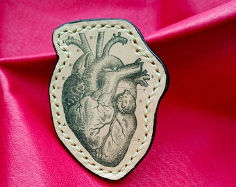 Anatomical heart. Heart brooch. Valentine's day gifts. Leather brooch