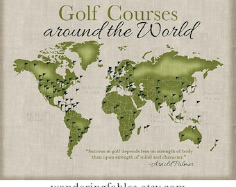 Gifts for Golfers, Golf World Map, Golf Courses around the World, Unique Gift, Dad, Grandpa, Coworker, Boss, Office Party, Golf Lover