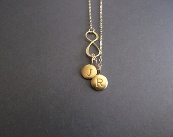 Infinity Love 24K Gold  Necklace - two(2) initial, Personal Initial,  Eternity Circle, Infinity Link,  - Dainty Necklace