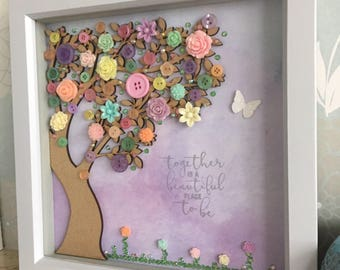 Pastel Button Tree, Button art, Together is a beautiful place to be, pastel colours, framed art, unique gift, i love you