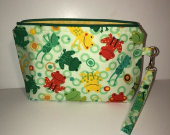 Frog Cosmetic Bag | Reptile Travel Bag | Toad Toiletry Bag | Zipper Pouch | School Bag | Ready to Ship