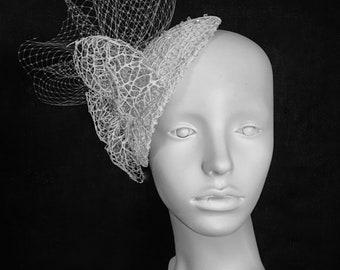 Bridal Fascinator, Bridal Headpiece, Lace and Veil Headpiece