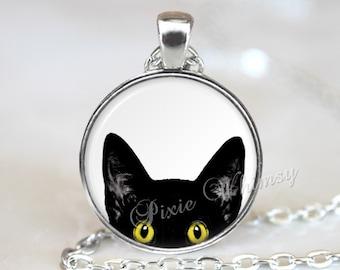 PEEPING TOM CAT Necklace, Black Cat Necklace, Black Cat Pendant, Peeking Cat, Cat Jewelry, Cat Keychain, Black Cat Jewelry, Cat Art Jewelry