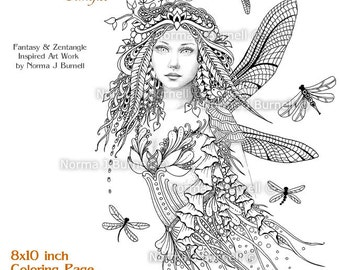 Dragonflies Fairy  - Fairy Tangles Grayscale Printable Coloring Book Pages & Sheets by Norma J Burnell Adult Coloring - Digital Coloring