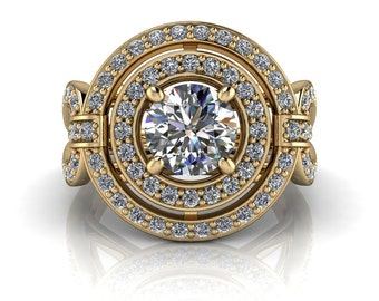 Moissanite Engagement Ring Double Diamond Halo Unique Setting  - Montana